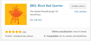 block bag queries asegurar wordpress