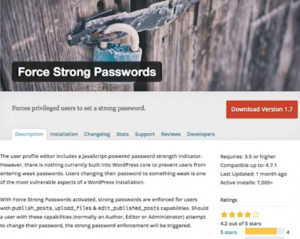 force wordpress password